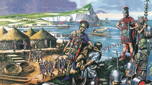 Римские легионеры на берегу Британских островов и их кельтский пленник