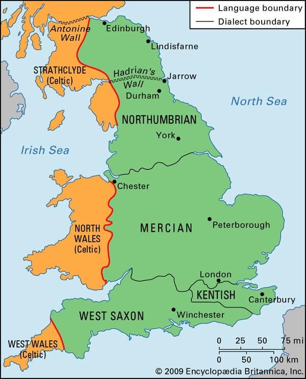 Карта диалектов древнеанглийского языка