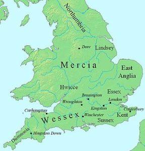 Карта первых англосаксонских королевств на британской земле