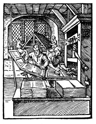 Работа одной из первых типографий