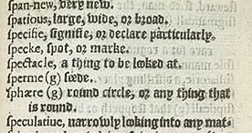 Скан нескольких словарных статей из одного из первых словарей английскогоо языка