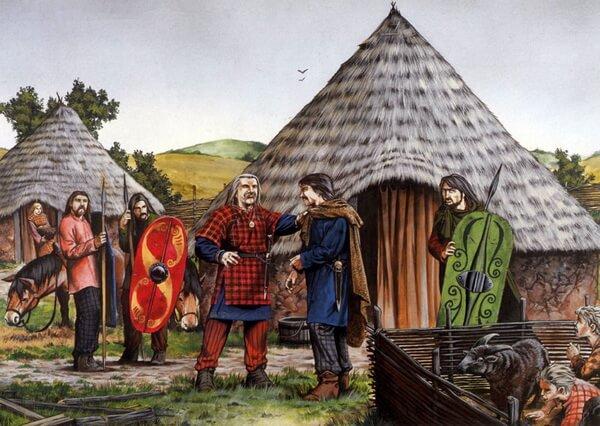 жители деревни в древней Британии