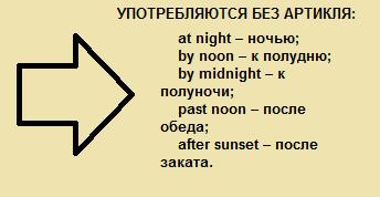 исключения - артикли с существительными, обозначающими время суток и года (2)